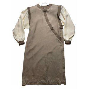 Vintage Oleg Cassini Silk Dress 12 Long Sleeve Tan